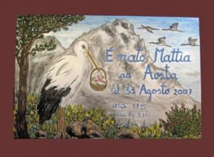 Aosta piastrella nascita con cicogna