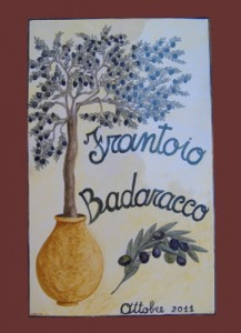 Targa in ceramica per frantoio , insegna: ulivo e giara