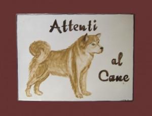 Attenti al cane in ceramica