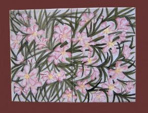 fiori di oleandro composizione su piastrelle