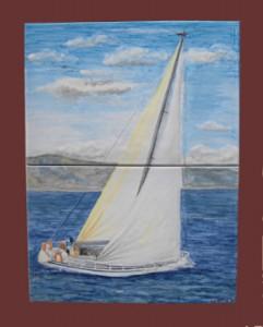 barca a vela dipinta su piastrelle