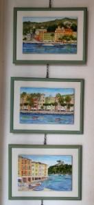 quadri di S. Margherita e Portofino dipinti su piastrella
