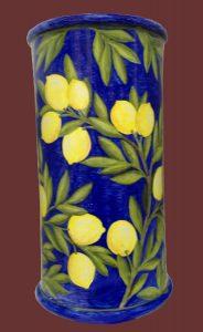 Portaombrelli cilindrico con limoni in ceramica