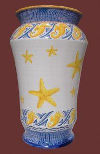 Portaombrelli decoro su maiolica con stelle marine e ippocampi