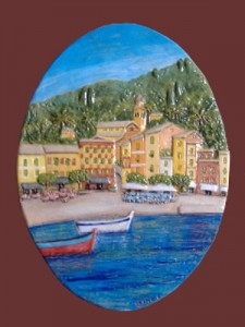 Portofino in rilievo, ovale in ceramica