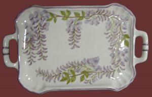 Vassoio in maiolica con glicine , handmade