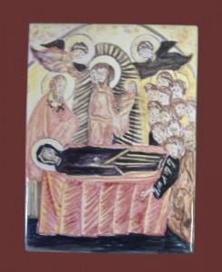 Quadretto della Vergine dipinto su ceramica