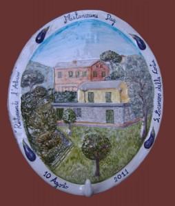 festa della melanzana, rilievo in ceramica