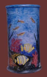 portaombrelli con fondale marino dipinto
