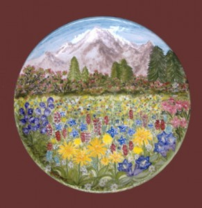 piatto montagna in fiore