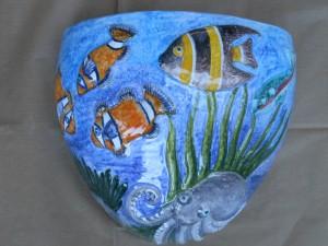 vaso da muro a rilievo fondale marino