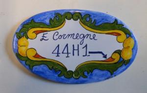 targa ovale in ceramica