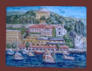 rilievo in ceramica hotel Laurin e Villa Durazzo