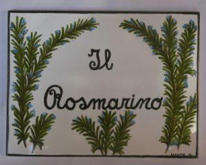 Piastrella con Rosmarino dipinto