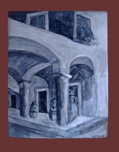 portico di Chiavari, rilievo in ceramica
