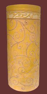 Portaombrelli cilindrico in terracotta con disegno inciso fatto interamente a mano, handmade in Italy