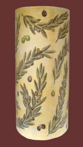 Portaombrelli in ceramica con rametti d'ulivo