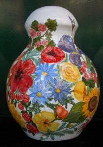 vaso portalampada con fiori variopinti