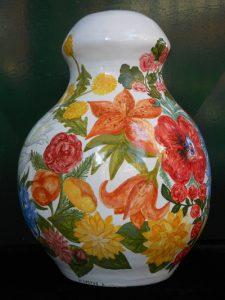 Vaso in maiolica policroma per Abat-jour