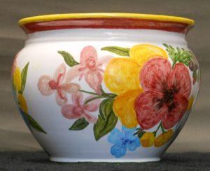 Cachepot in ceramica dipinto a mano con fiori assortiti