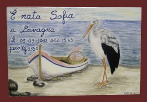 Piastrella regalo per nascita con cicogna, dipinta a mano, personalizzata