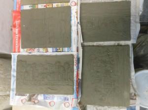 bassorilievi in argilla fresca