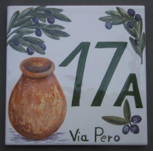 Numero civico con giara, S. Lorenzo della Costa