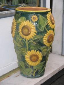 portaombrelli in ceramica con girasoli a rilievo