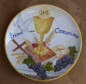 Piatto dipinto a mano per prima comunione