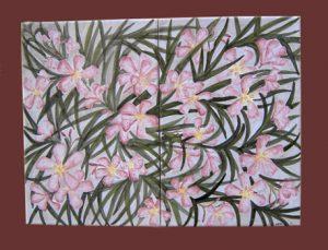Composizione floreale piastrella con oleandro