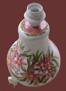 Paralume, vaso in ceramica bianco, rosa e verde