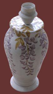 Abat-jour, vaso in maiolica dipinto a mano con glicine