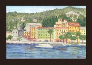 S. Margherita L. castello e giardini, piastrella dipinta