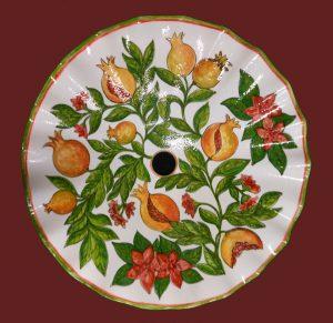 Portalampada a piatto in ceramica decorata a mano
