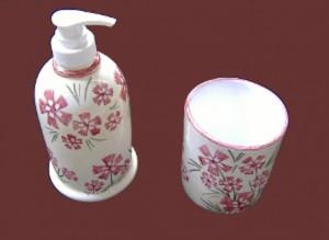 erogatore per sapone liquido e bicchiere