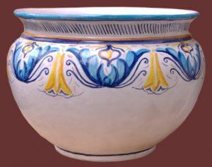 Cachepot in maiolica, decoro blu, azzurro e giallo