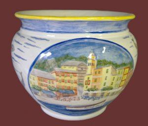 Vaso in maiolica con Portofino, cachepot