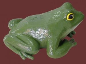 rana verde in ceramica