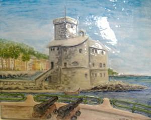 rilievo castello di Rapallo in ceramica