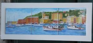 dipinto su piastrelle, veduta di S. Margherita Ligure