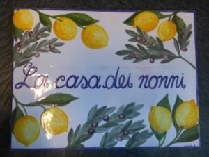 piastrella casa, limoni e ulivo, piastrelle e targhe per ingresso di casa e villa dipinte a mano