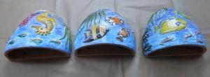 3 vasi da muro in ceramica smaltata fatti a mano