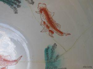 Vaso cinese con pesci