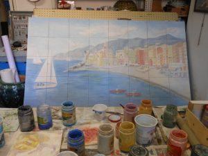 Veduta dipinta su piastrelle in ceramica