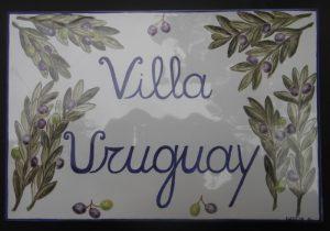 Piastrelle e targhe per ingresso di casa, dipinte a mano con ulivo
