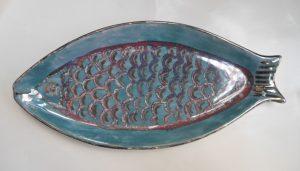 vassoio pesce dipinto a mano