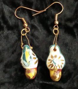 orecchini ceramica con oro