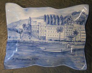 Vassoio dipinto con S.Margherita Ligure