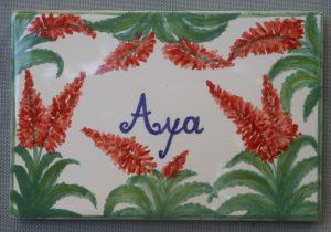 Aloe vera, piastrella decorata a mano