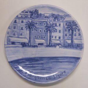 Piatto in ceramica monocromo blu
